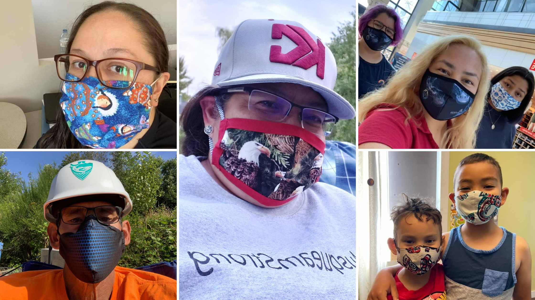 Photos of Musqueam people in face masks