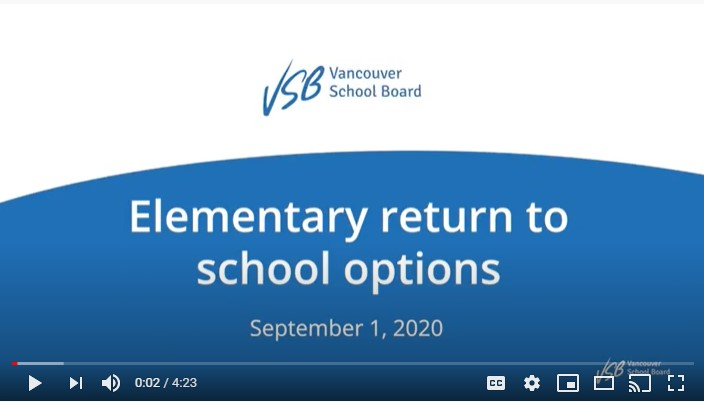 Vancouver School Board return to school options youtube video