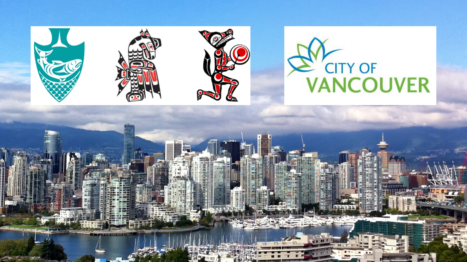vancouver skyline with musqueam squamish tsleil-waututh and city of vancouver logos