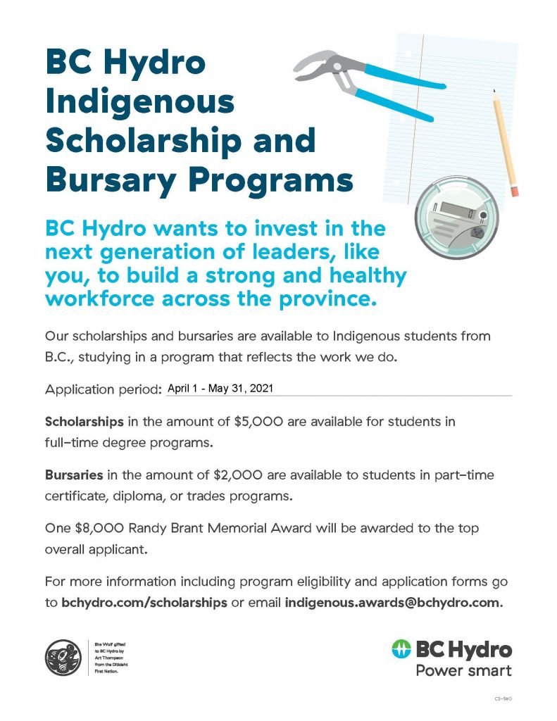 BC Hydro Indigenous Scholarship and Bursary Program 2021