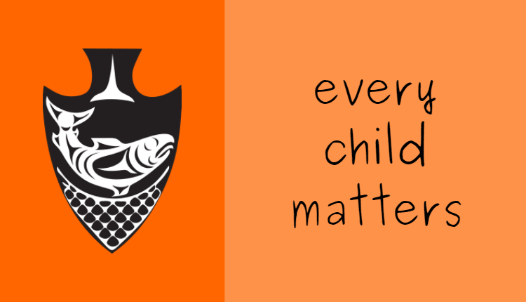 """Musqueam logo on orange background with text: """"Every Child Matters"""""""