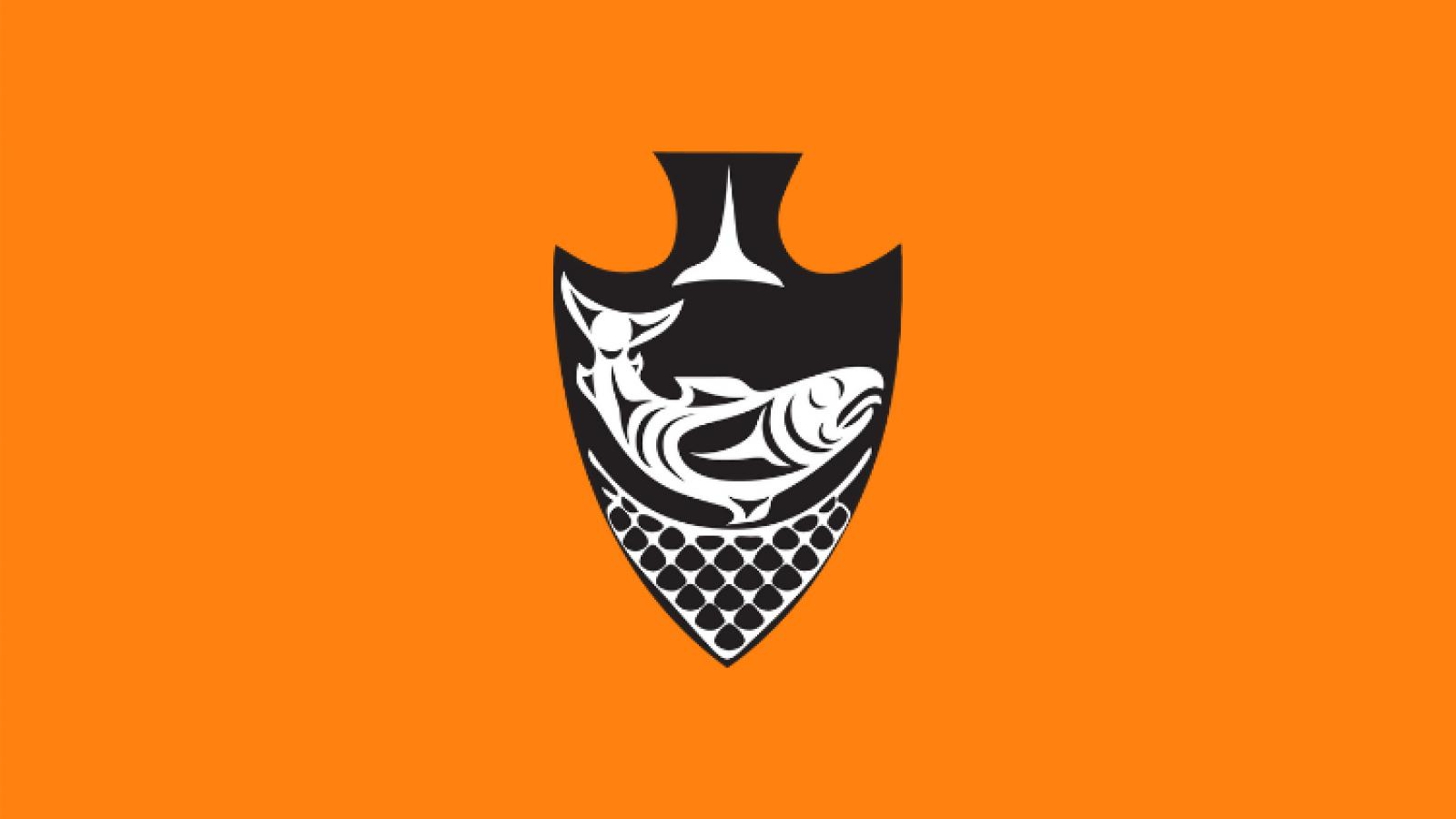 Musqueam arrowhead logo with orange background