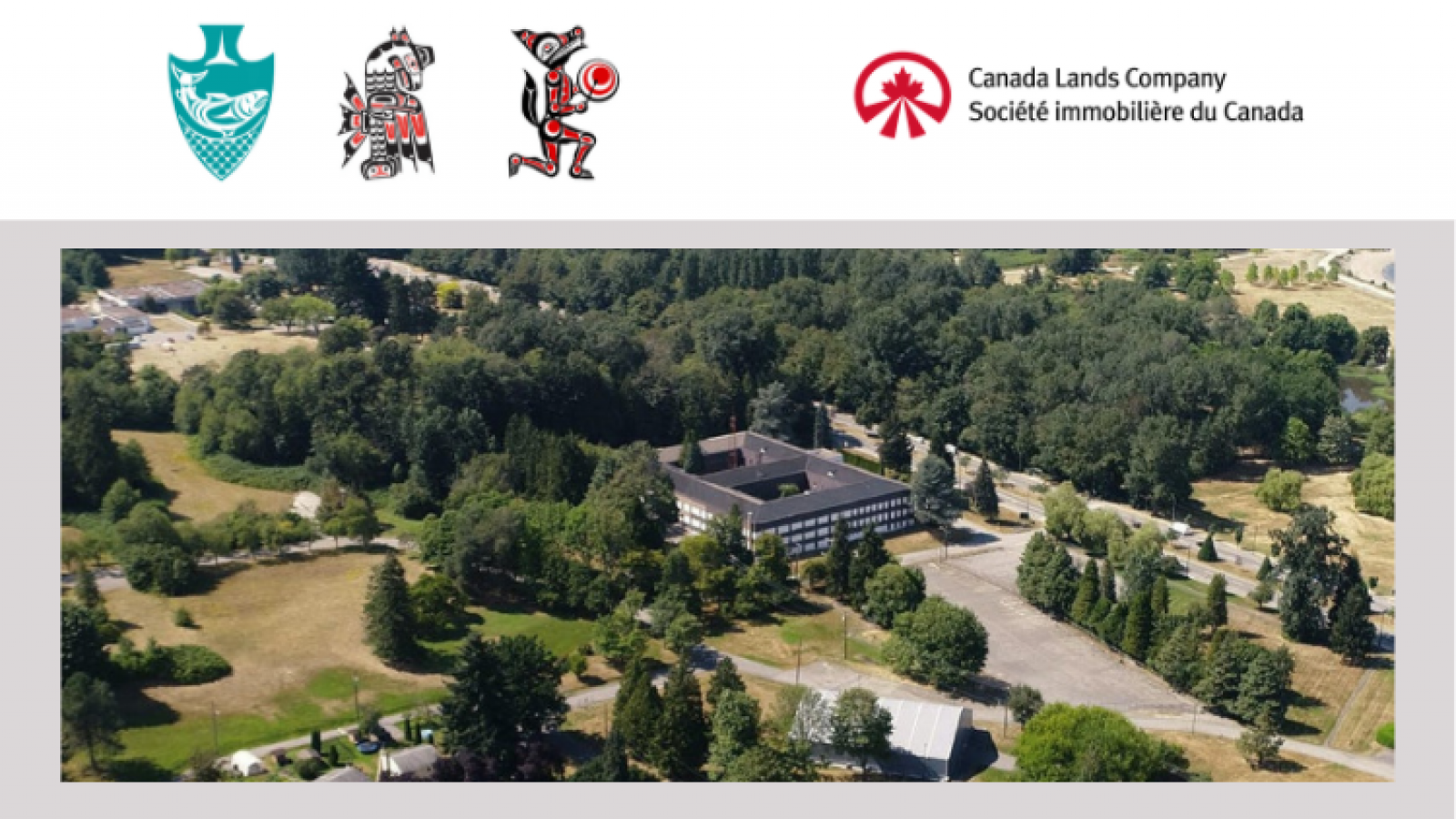 Musqueam Squamish and Tsleil-Waututh Logos, next to Canada Lands Corporation Logo and an aerial shot of Jericho Lands
