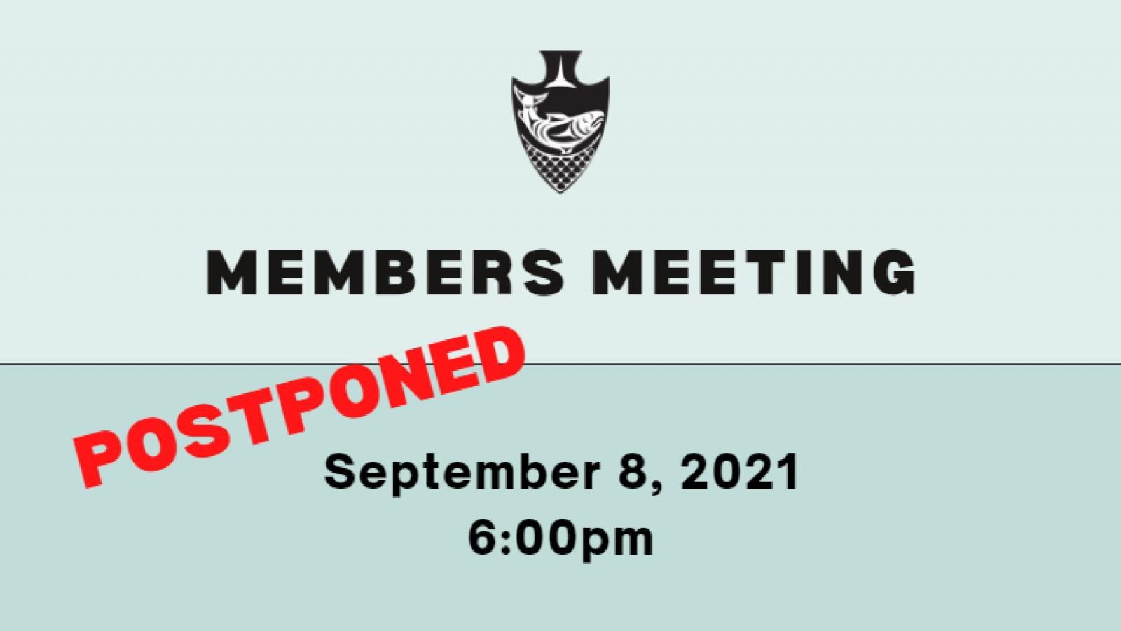 Members meeting on Sept. 8 postponed